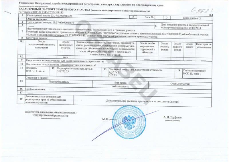 Кадастровый паспорт -Образе