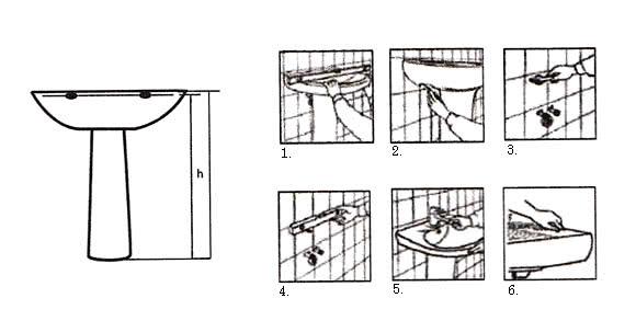 Монтаж раковины к стене