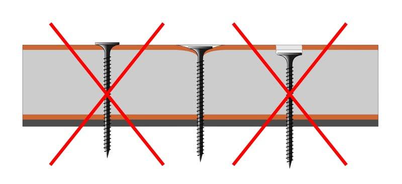 Головка шурупа должна быть вровень с поверхностью гипсокартона