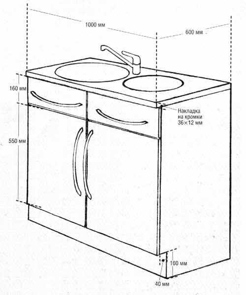 Монтаж тумбы для кухонной раковины