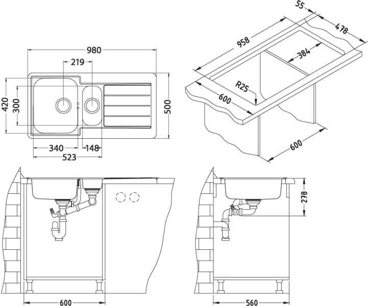 Размеры врезной мойки для кухни