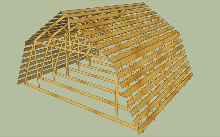 Стропильная крыша мансанрда