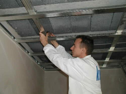 Монтаж каркаса для потолка