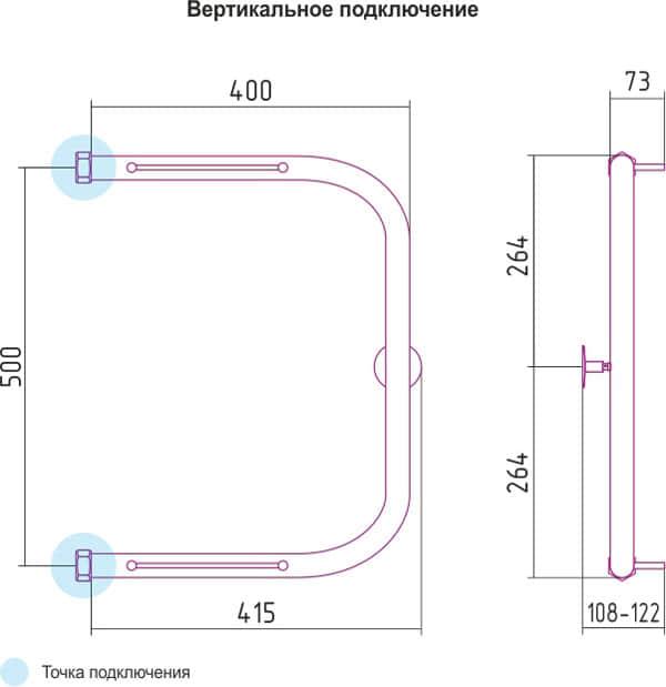 Харатектеристики для П образных полотенцесушителей