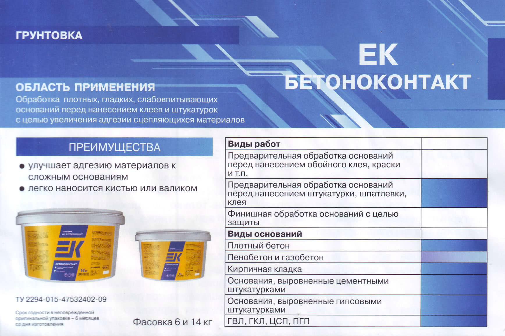Область применения и виды Бетоноконтакт