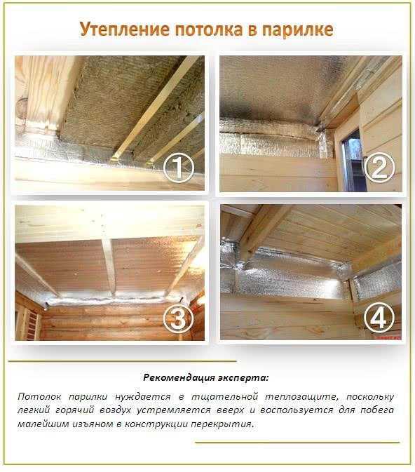 Теплоизоляция потолка в парилке