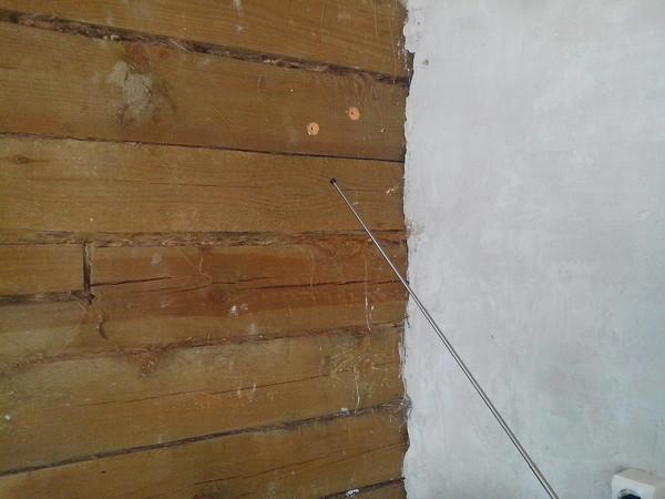 Штукатурка стены из бруса