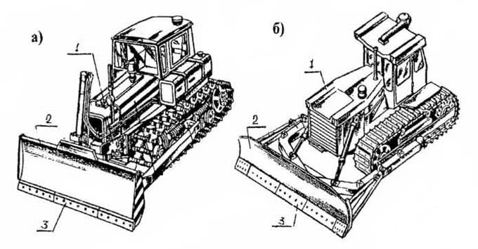 Рис. 2.42. Бульдозеры: а – мощностью 140 л.с.; б – мощностью 250 л.с.: 1 – базовый трактор; 2 – отвал; 3 – накладки из высокопрочной стали