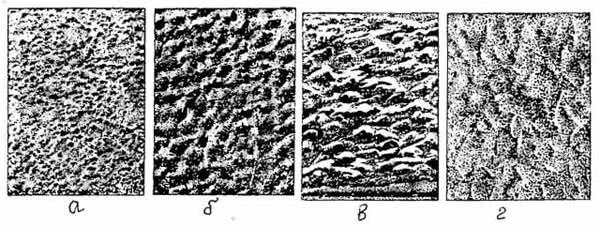 Рис. 8.11. Фактуры каменной штукатурки: а,б - «под шубу»; в - под рваный камень; г - под дюны