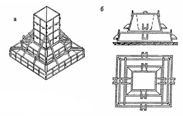 Рис. 4.5. Блок-формы: а – для столбчатых фундаментов; б – для фундаментов стаканного типа