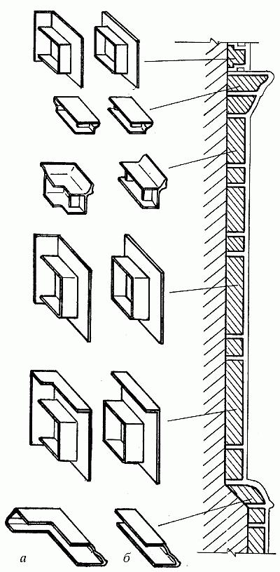 Изразцы: а — угловые; б — прямые