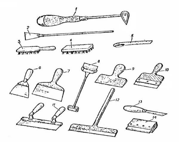 Рис. 9.7. Инструменты для подготовки бетонной поверхности: 1 - фигурный скребок; 2 - скребок; 3, 4, 5 - щетки; 6, 7 - шпатели стальные; 8 - шпатель для потолка; 9 - шпатель деревянный; 10, 14 - шпатель резиновый; 11, 12 - скребок широкий; 13 - нож для отделочных работ