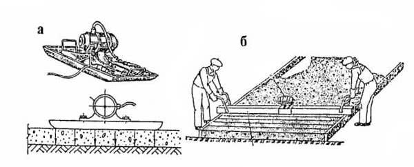 Рис. 4.37. Поверхностные вибраторы: а – виброплощадка; б – виброрейка