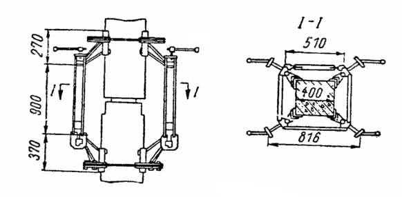 Рис. 6.32. Одиночный кондуктор для установки колонны на колонну