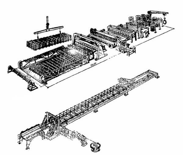 Рис. 5.2. Механизированные линии по изготовлению арматурных изделий: а – сеток; б – каркасов колонн