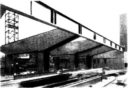 Опорная консольная конструкция на железобетонных колоннах