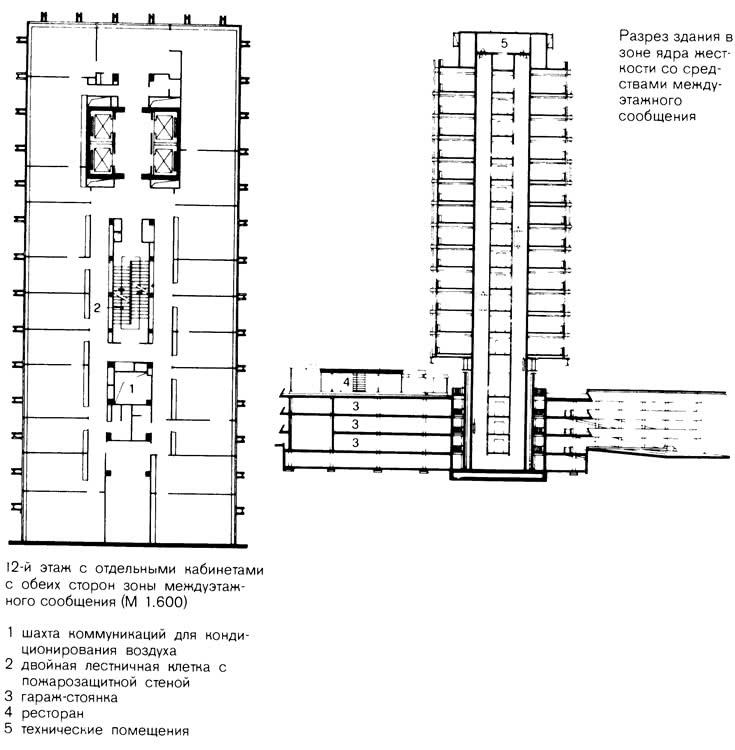План этажа и разрез здания