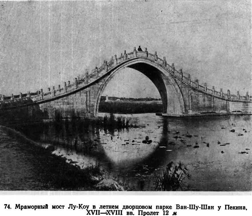 74. Мраморный мост Лу-Коу в летнем дворцовом парке Ван-Шу-Шан у Пекина