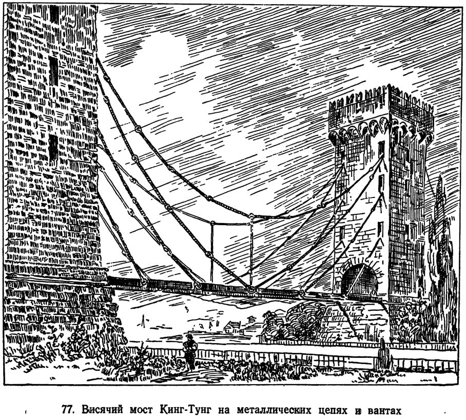 77. Висячий мост Кинг-Тунг на металлических цепях в вантах