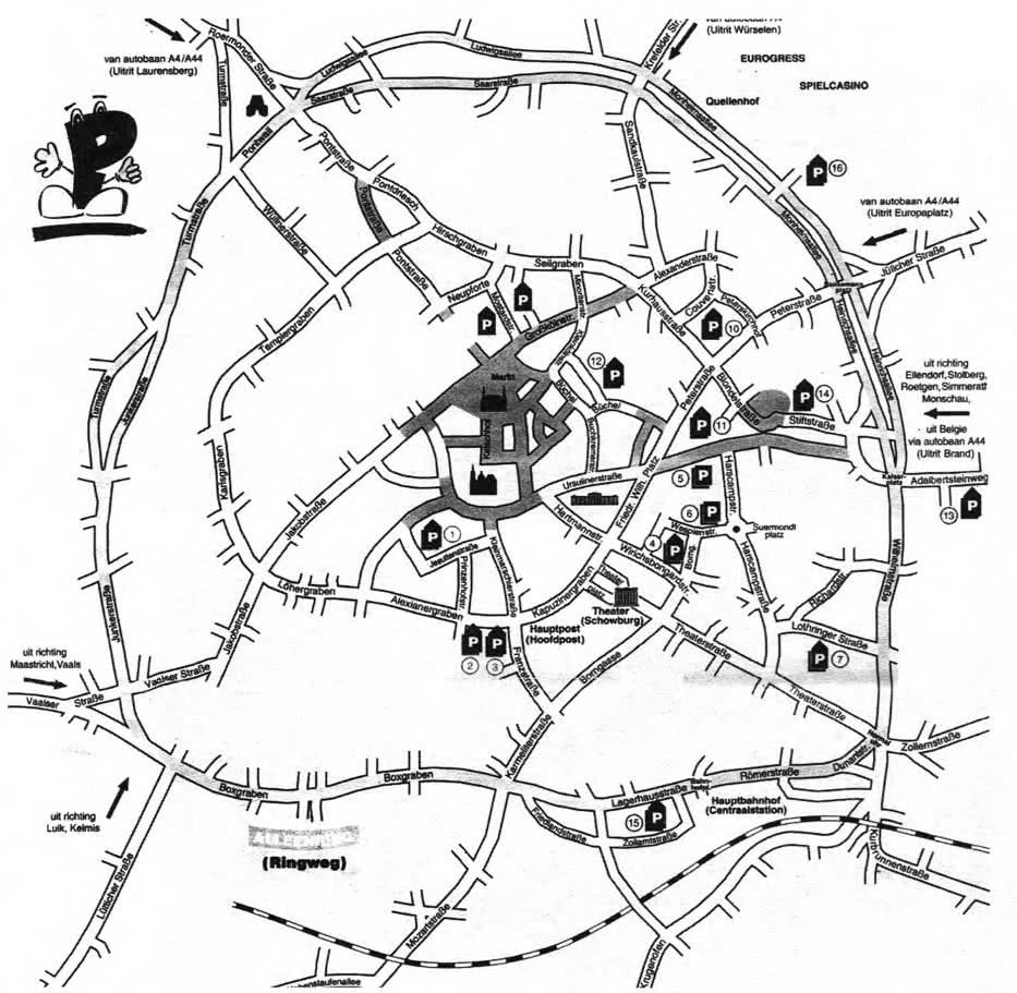 Пешеходные зоны и система транспортного обслуживания центральной части города Аахен, Германия