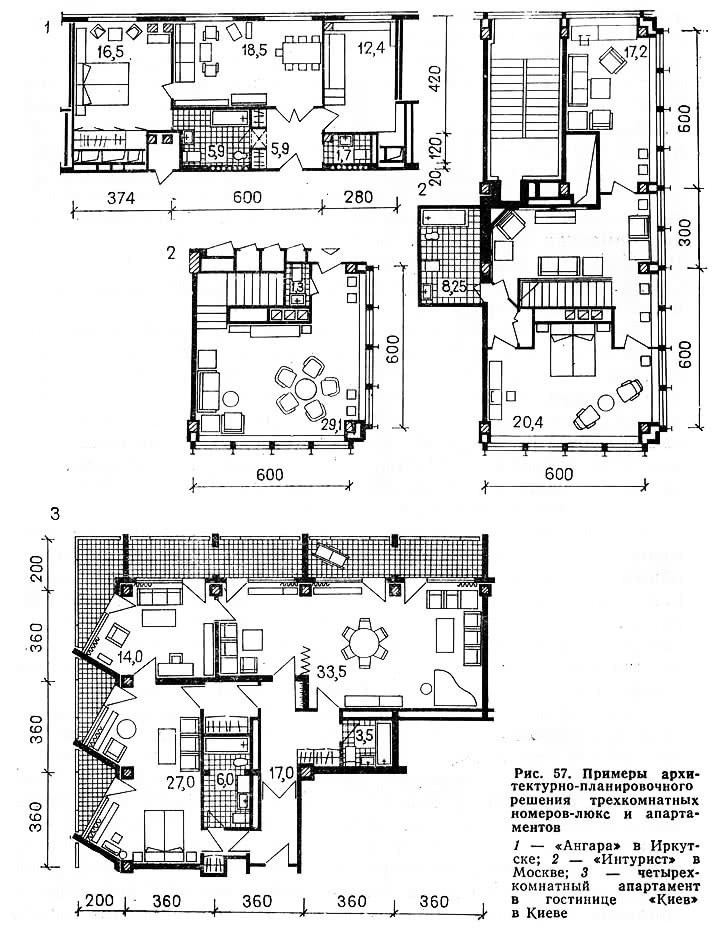 Рис. 57. Примеры решения трехкомнатных номеров-люкс и апартаментов