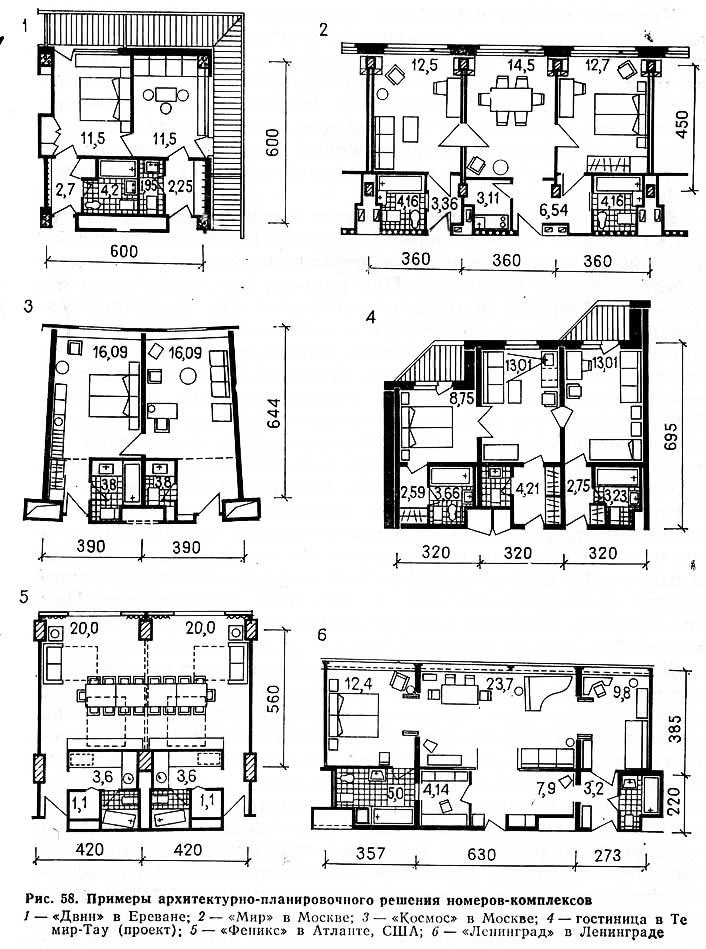 Рис. 58. Примеры архитектурно-планировочного решения номеров-комплексов