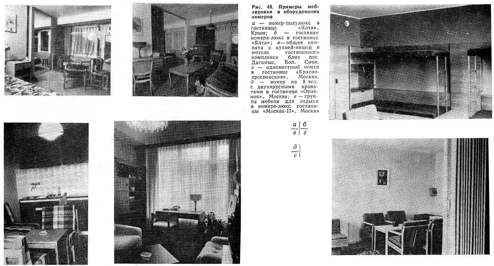 Рис. 48. Примеры меблировки и оборудования номеров