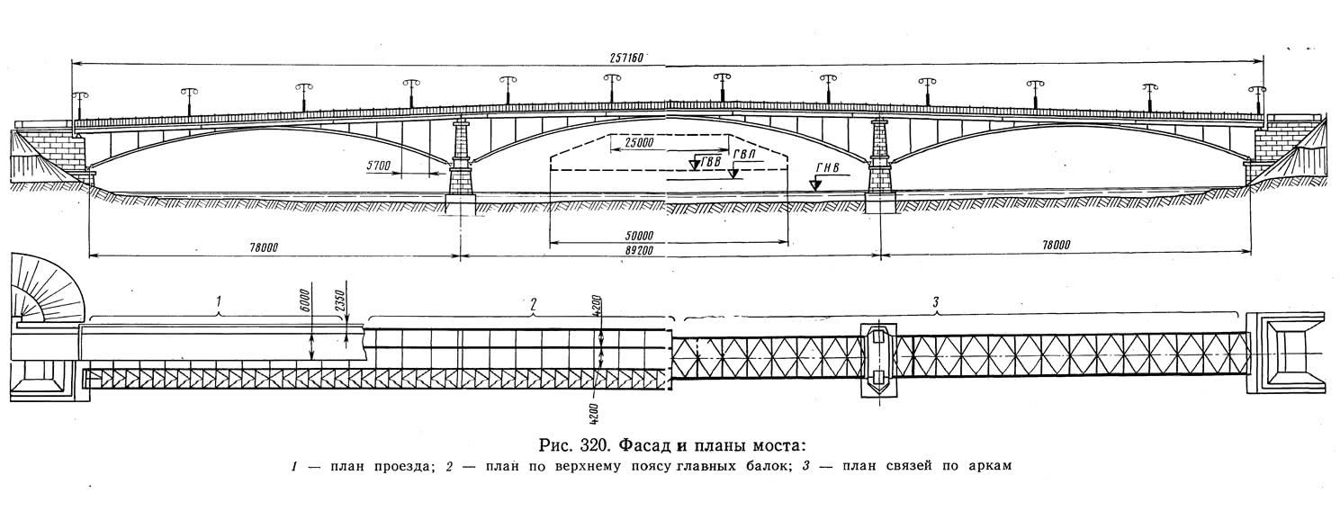 Рис. 320. Фасад и планы моста
