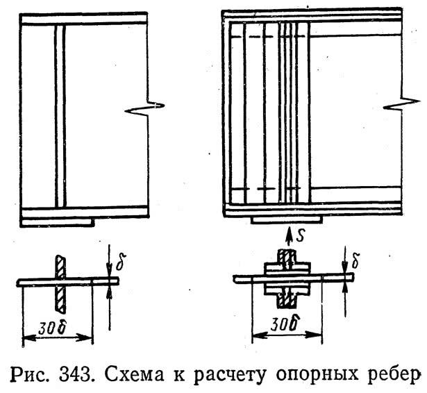 Рис. 343. Схема к расчету опорных ребер