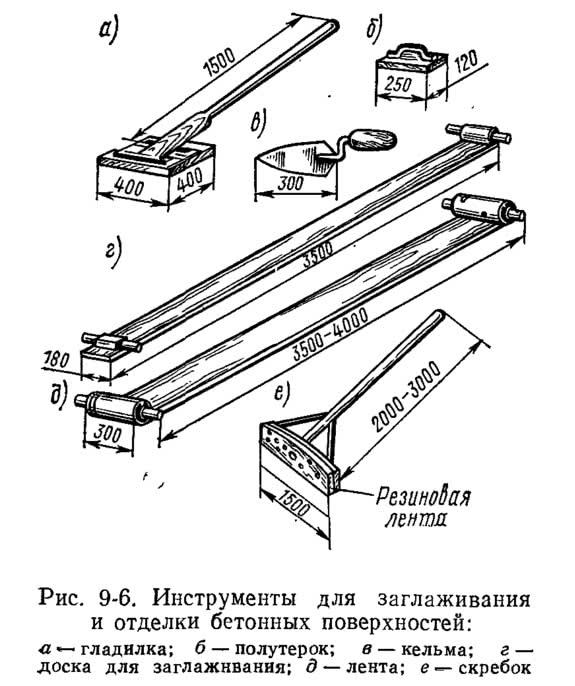 Рис. 9-6. Инструменты для заглаживания и отделки бетонных поверхностей