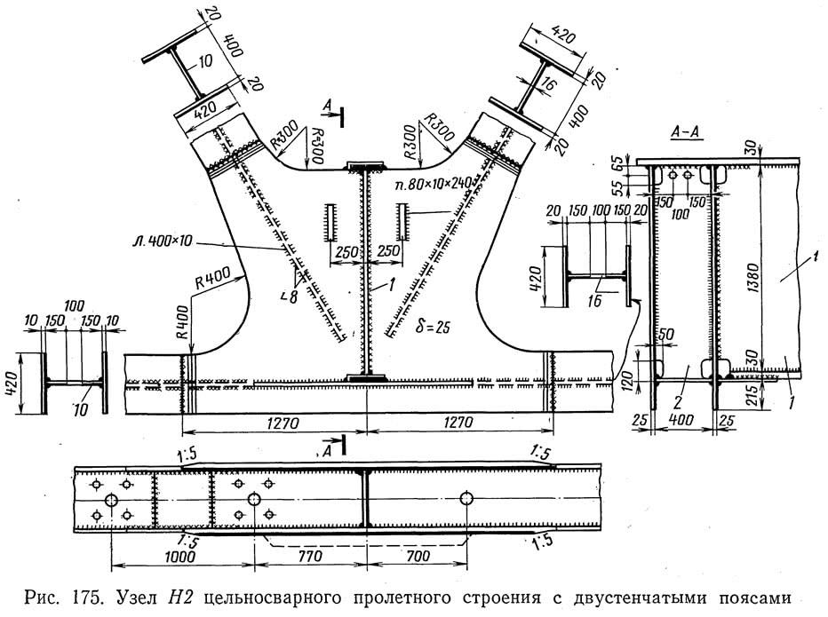 Рис. 175. Узел Н2 цельносварного пролетного строения с двустенчатыми поясами