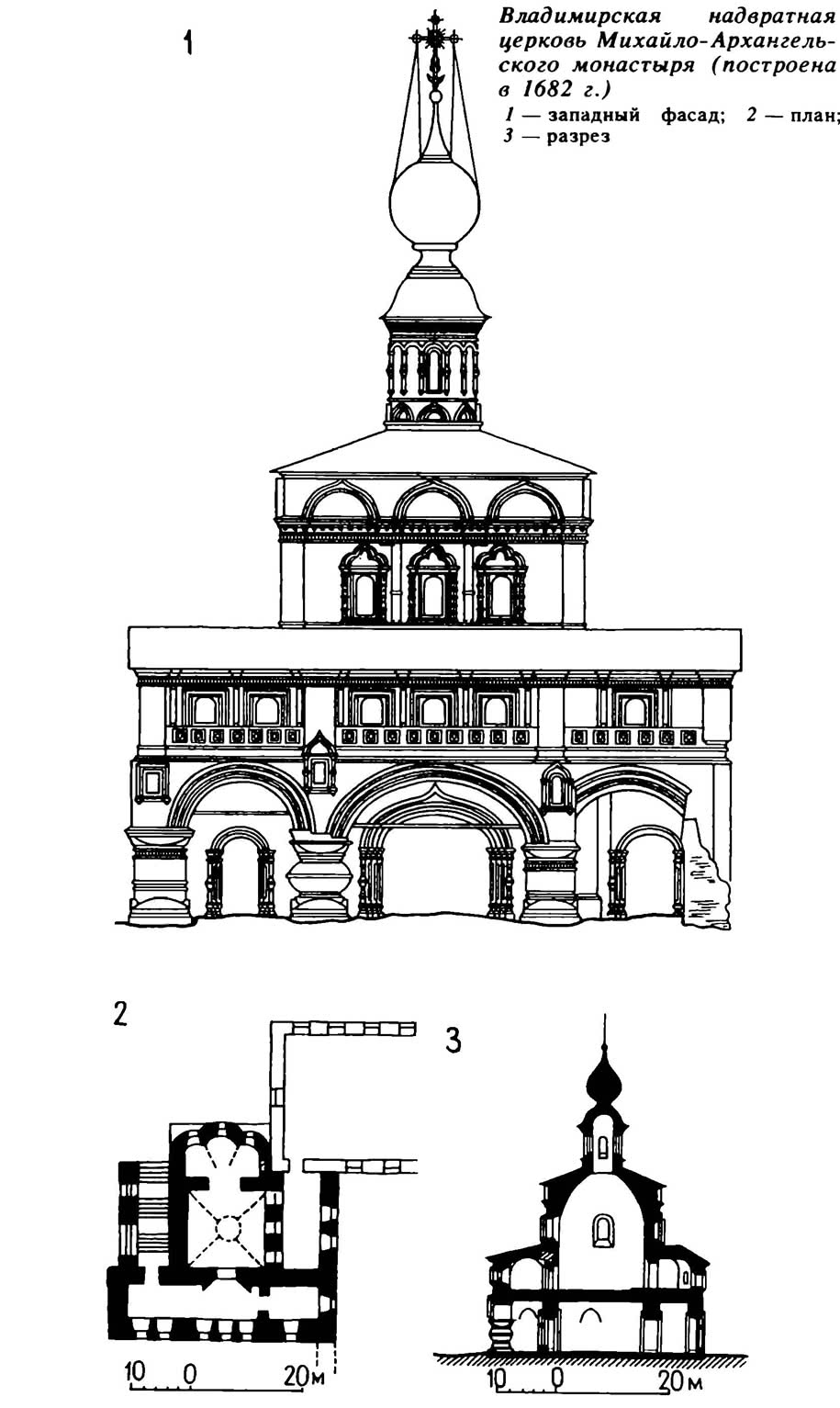 Владимирская надвратная церковь Михайло-Архангельского монастыря (построена в 1682 г.)