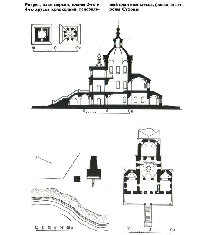 Разрез и план церкви Симеона Столпника