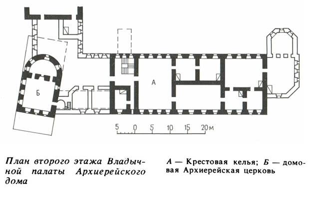 План второго этажа Владычной палаты Архиерейского дома