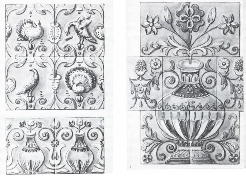 Фасадный раппорт из ценинных изразцов конца XVII в. (церковь Спасо-Преображенская)