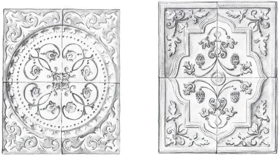 Примеры печных раппортов, составленных из четырех ценинных изразцов
