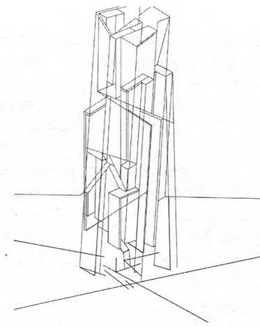 Скульптурно-пластическая импровизация на тему небоскреб