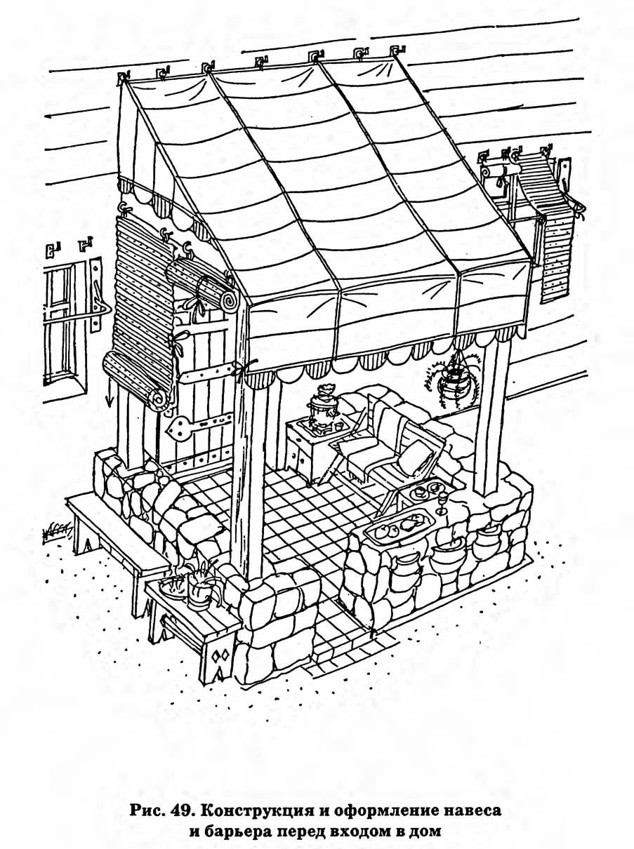Рис. 49. Конструкция и оформление навеса и барьера перед входом в дом