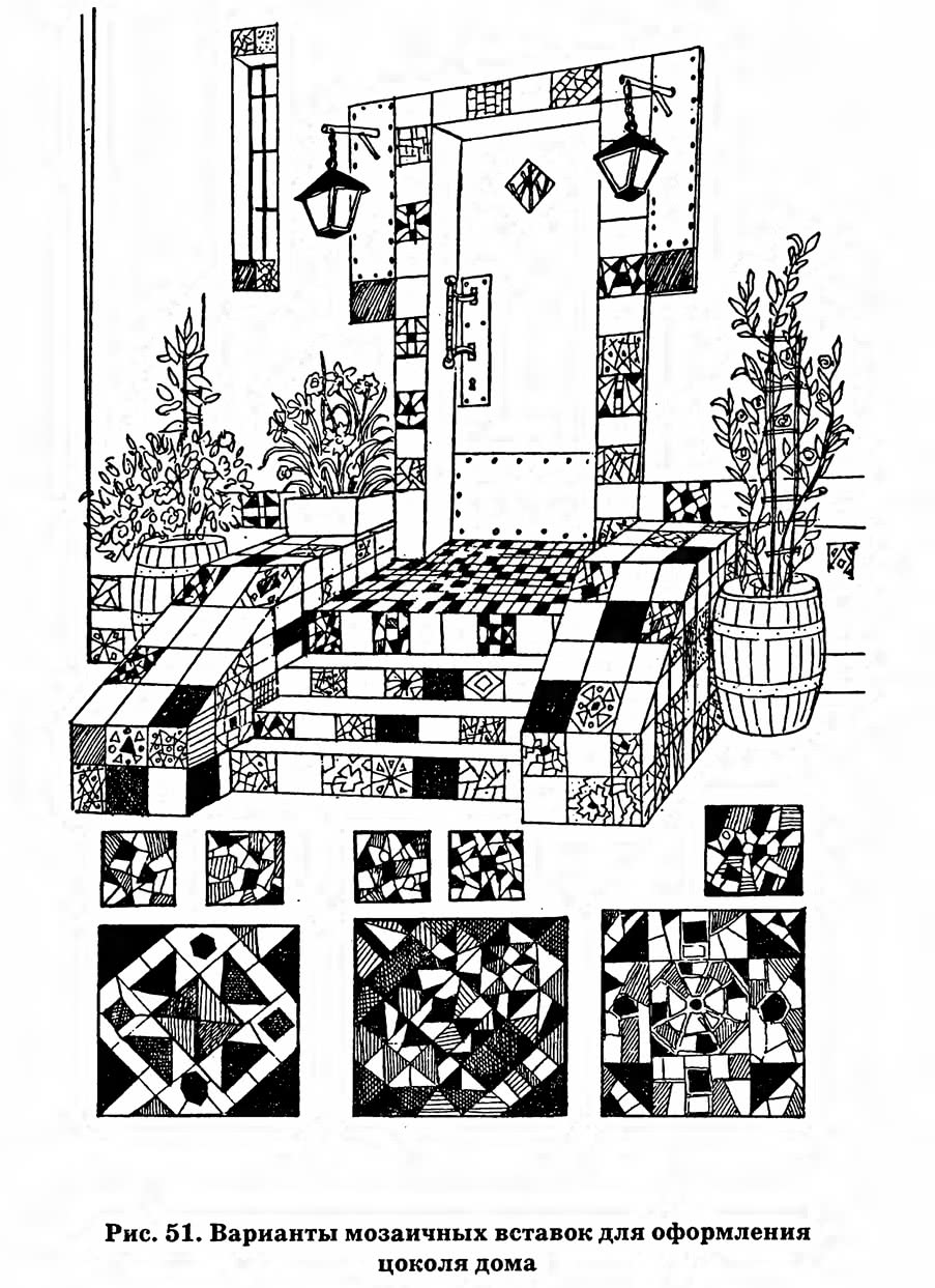 Рис. 51. Варианты мозаичных вставок для оформления цоколя дома