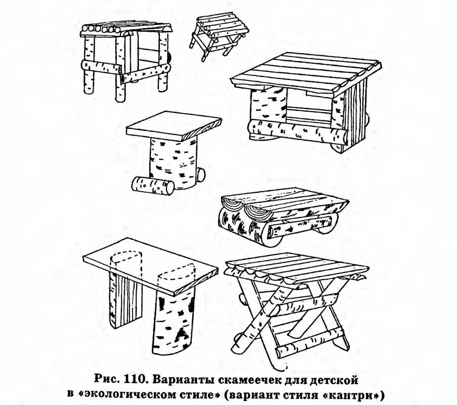 Рис. 110. Варианты скамеечек для детской в «экологическом стиле»