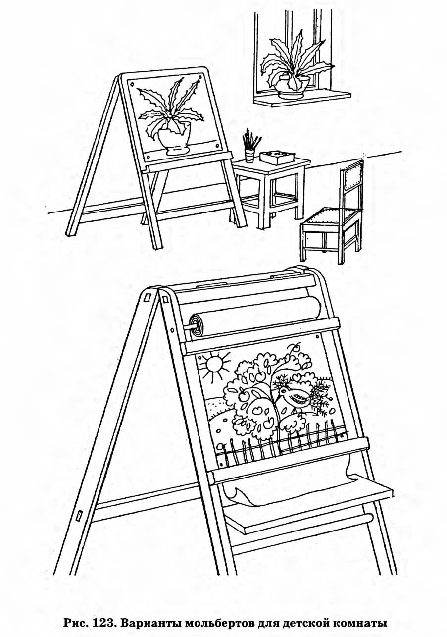 Рис. 123. Варианты мольбертов для детской комнаты