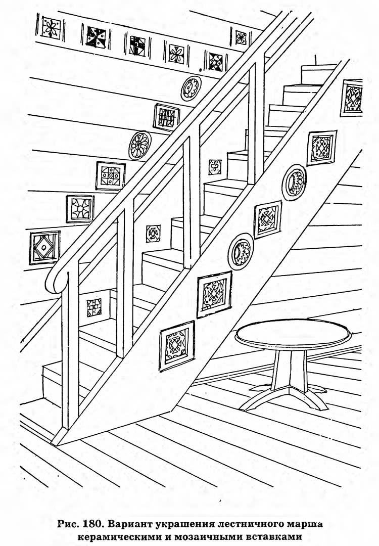 Рис. 180. Вариант украшения лестничного марша керамическими и мозаичными вставками
