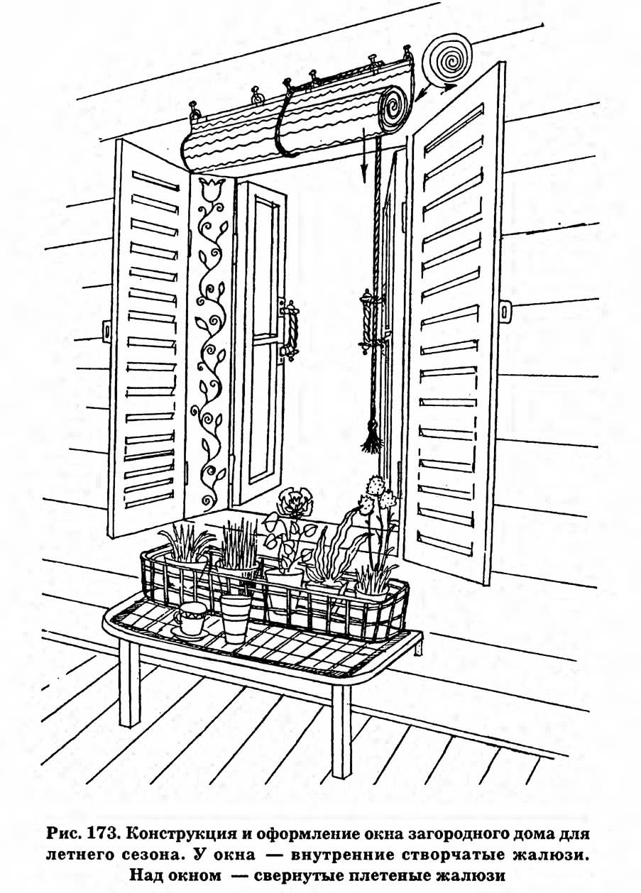 Рис. 173. Конструкция и оформление окна загородного дома для летнего сезона