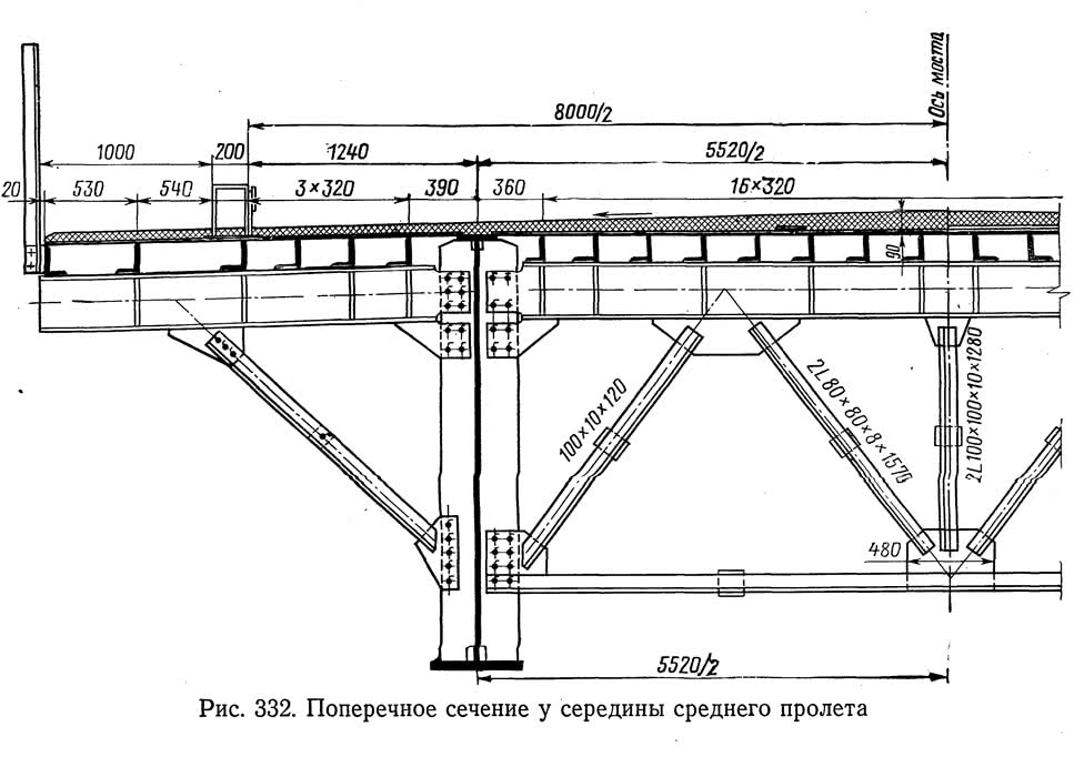 Рис. 332. Поперечное сечение у середины среднего пролета
