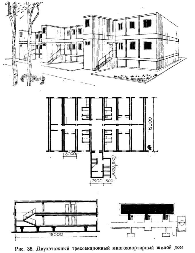 Рис. 35. Двухэтажный трехсекционный многоквартирный жилой дом
