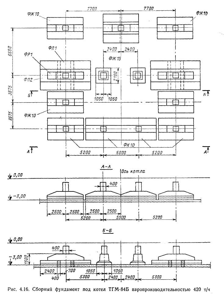 Рис. 4.16. Сборный фундамент под котел ТГМ-84Б паропроизводительностыо 420 т/ч