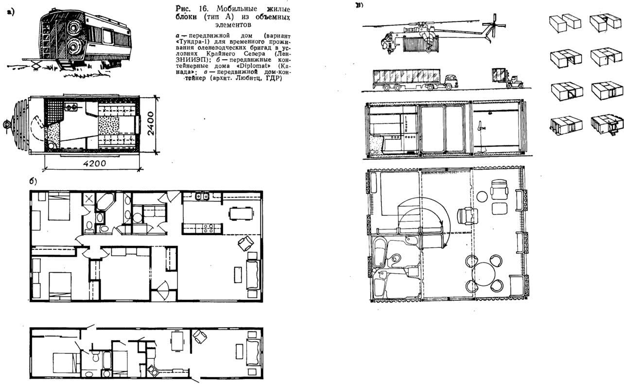 Рис. 16. Мобильные жилые блоки (тип А) из объемных элементов