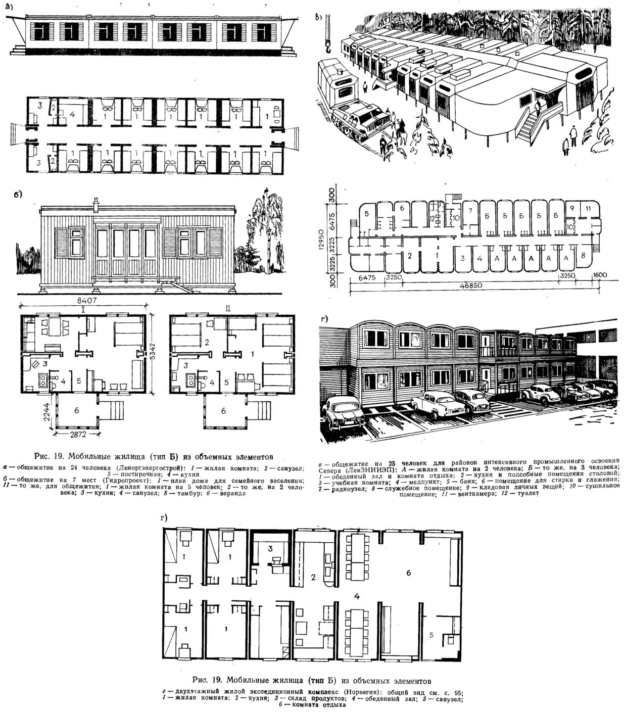 Рис. 19. Мобильные жилища (тип Б) из объемных элементов