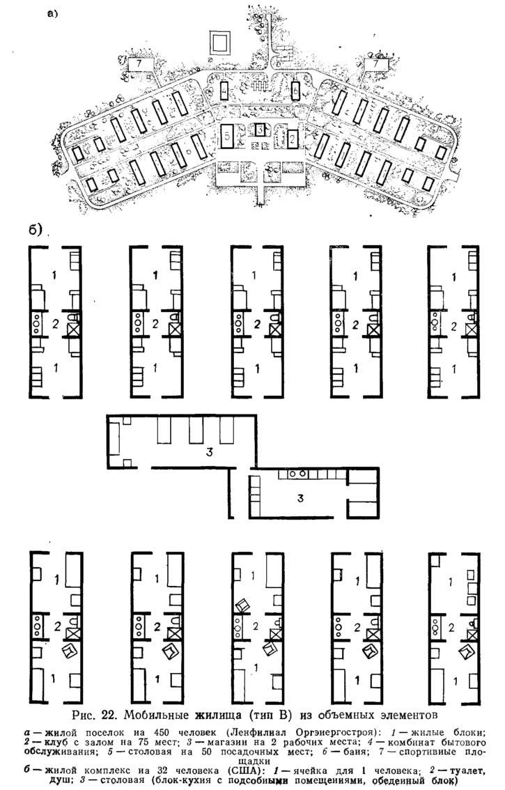 Рис. 22. Мобильные жилища (тип В) из объемных элементов