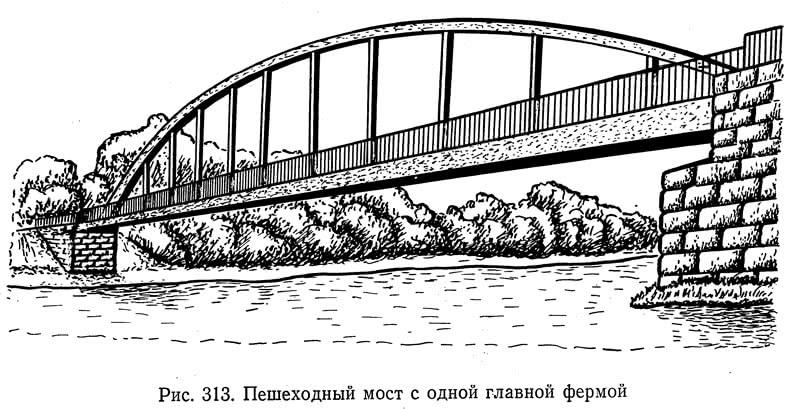 Рис. 313. Пешеходный мост с одной главной фермой
